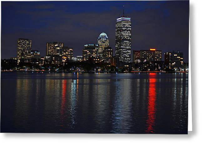 Charles River Greeting Cards - Boston Charles River at Night Greeting Card by Toby McGuire