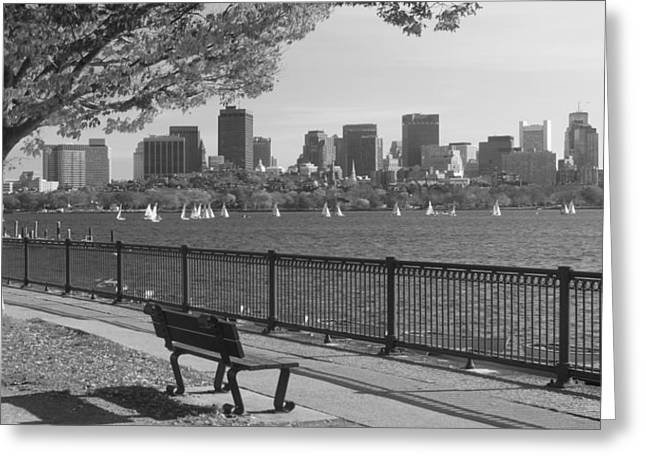 Suffolk Greeting Cards - Boston Charles River black and white  Greeting Card by John Burk