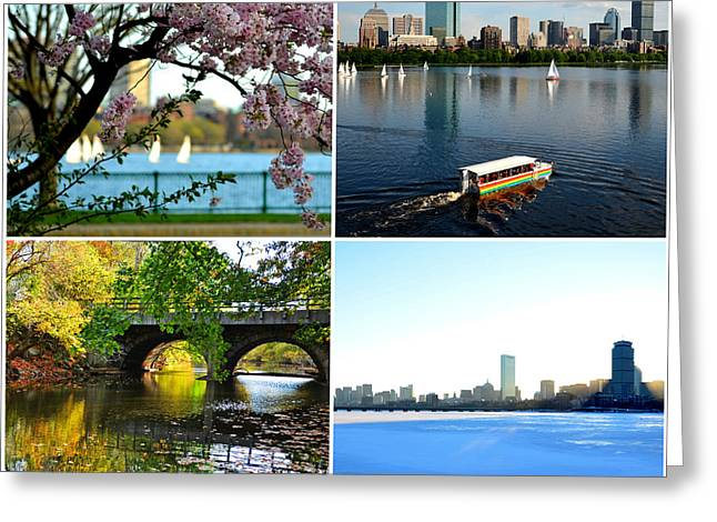 Charles River Greeting Cards - Boston Charles River Four Seasons Collage Greeting Card by Toby McGuire