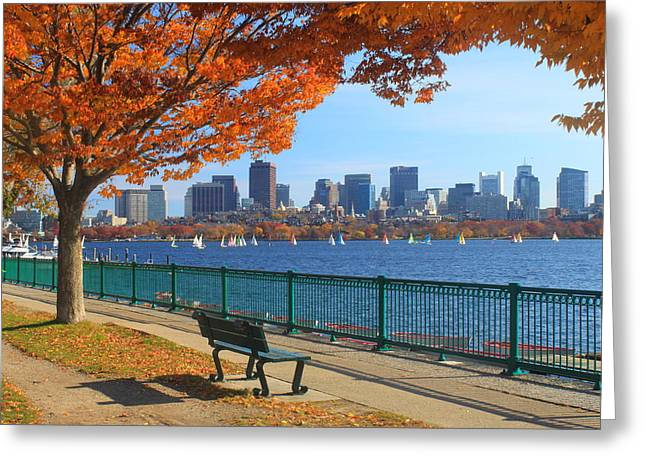 Boat Photographs Greeting Cards - Boston Charles River in Autumn Greeting Card by John Burk