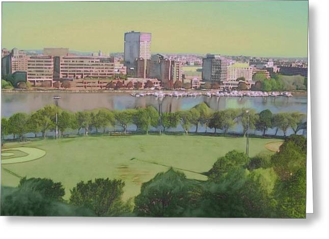 Baseball Field Paintings Greeting Cards - Boston Charles River View - Square Greeting Card by Lyn Voytershark