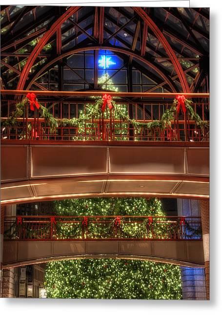 Faneuil Hall Greeting Cards - Boston Christmas Tree Greeting Card by Joann Vitali