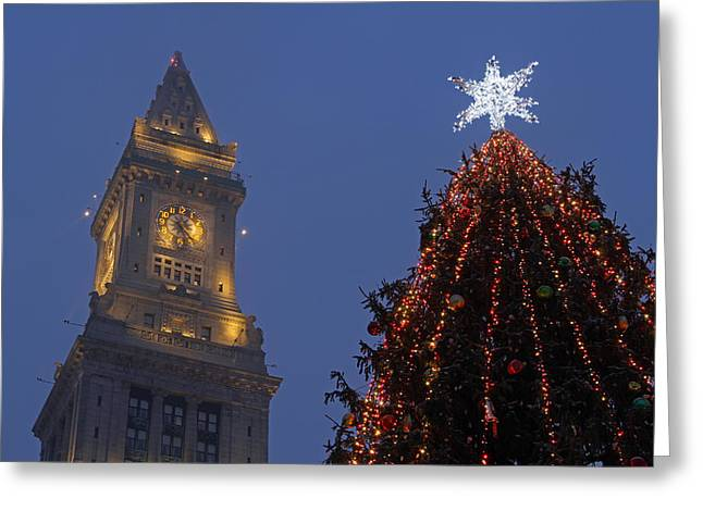 Religious Artwork Photographs Greeting Cards - Boston Christmas Tree Lighting Greeting Card by Juergen Roth