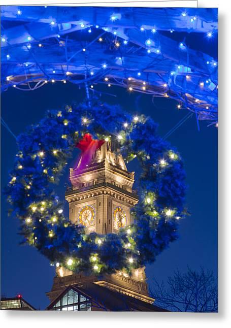 Boston Greeting Cards - Boston Christmas Wreath around Custom House Greeting Card by Joann Vitali