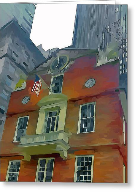 Live Art Greeting Cards - Boston City Center 3 Greeting Card by Yury Malkov