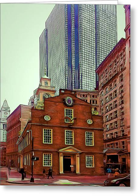 Live Art Greeting Cards - Boston City Center 4 Greeting Card by Yury Malkov