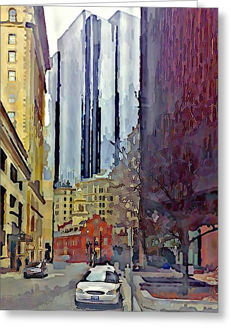Live Art Greeting Cards - Boston City Centre Greeting Card by Yury Malkov
