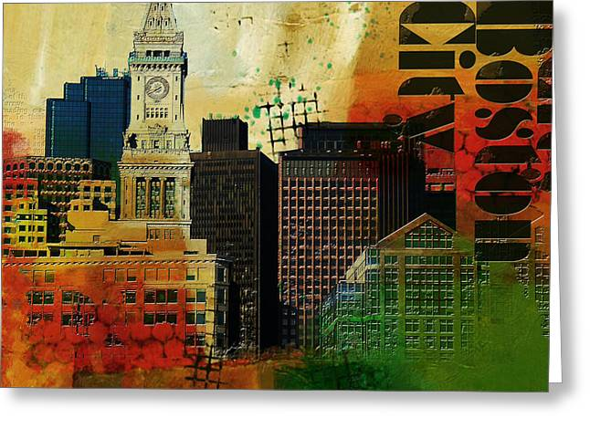 Digital Media Greeting Cards - Boston City Collage 2 Greeting Card by Corporate Art Task Force