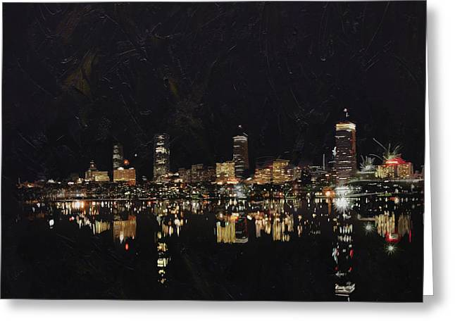 Mixed Media Digital Collage Greeting Cards - Boston City Skyline 2 Greeting Card by Corporate Art Task Force