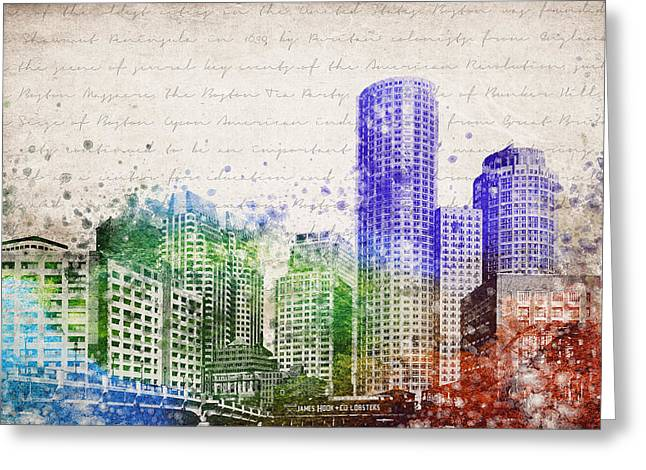City Buildings Mixed Media Greeting Cards - Boston City Skyline Greeting Card by Aged Pixel