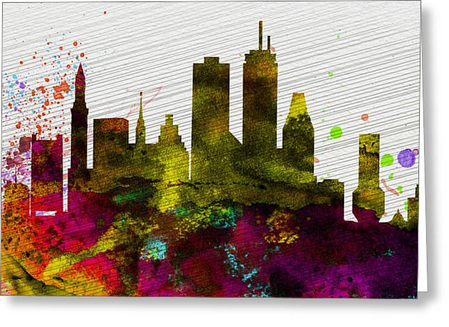 Boston Skyline Greeting Cards - Boston City Skyline Greeting Card by Naxart Studio