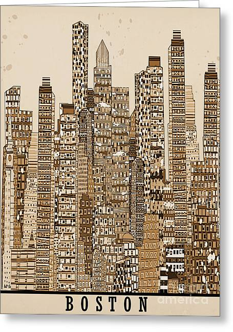 Art Of Building Greeting Cards - Boston City Vintage Greeting Card by Bri Buckley