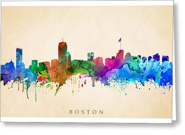 Steve Will Greeting Cards - Boston Cityscape Greeting Card by Steve Will