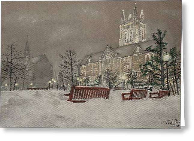 Boston Pastels Greeting Cards - Boston College campus on a winters night Greeting Card by John Ruggiero