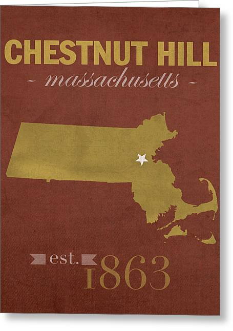 Recently Sold -  - Town Mixed Media Greeting Cards - Boston College Eagles Chestnut Hill Massachusetts College Town State Map Poster Series No 020 Greeting Card by Design Turnpike