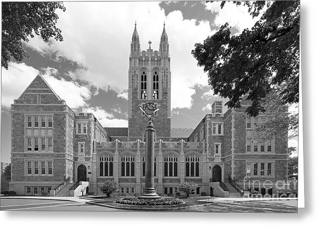 Hall Photographs Greeting Cards - Boston College Gasson Hall Greeting Card by University Icons