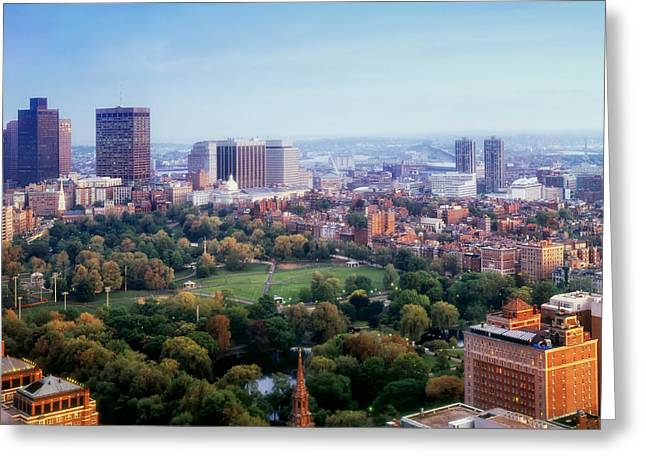 Boston Massachusetts Skyline Skyscrapers Building Office Towers Structures Water Harbor Harbour Reflect Reflection Reflecting Sea Bay Rowes Wharf Tall Waterfront Day Daytime City Urban New England Greeting Cards - Boston Common in Autumn Greeting Card by Mountain Dreams