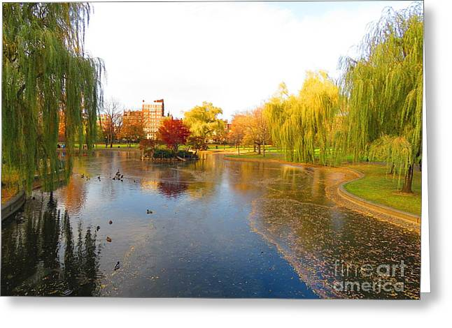 Boston Pyrography Greeting Cards - Boston Common Greeting Card by Russell Craft