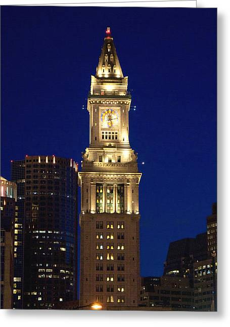 Custom House Tower Greeting Cards - Boston Custom House Greeting Card by Joann Vitali