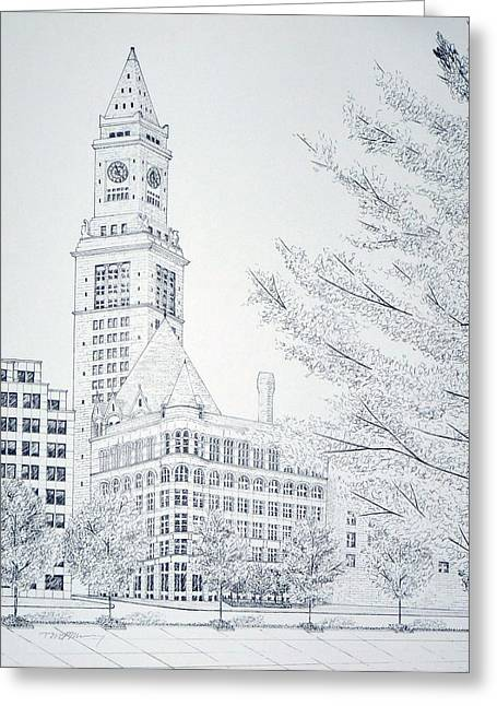 Flour Drawings Greeting Cards - Boston Custom House Greeting Card by Tim Murray