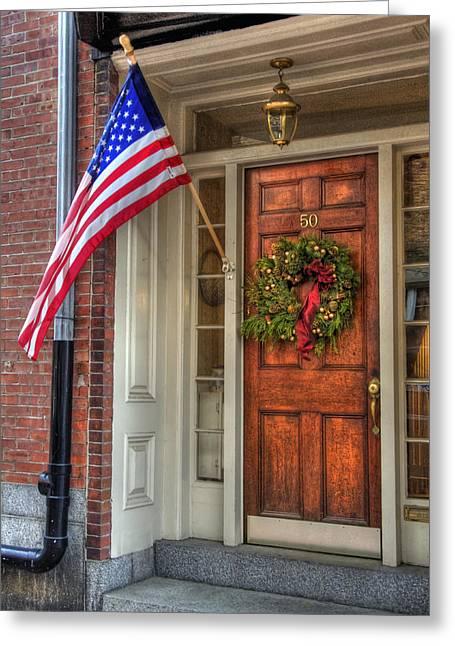 Desirable Greeting Cards - Boston Doorways 1  Greeting Card by Joann Vitali