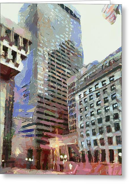 Live Art Greeting Cards - Boston Downtown 1 Greeting Card by Yury Malkov