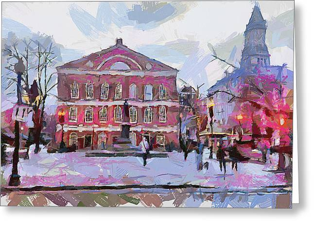 Live Digital Greeting Cards - Boston Downtown 11 Greeting Card by Yury Malkov