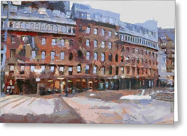 Live Art Greeting Cards - Boston Downtown 2 Greeting Card by Yury Malkov