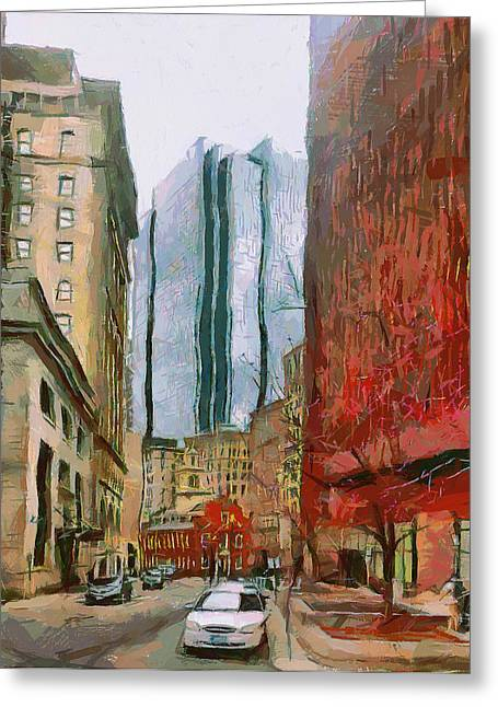 Live Art Greeting Cards - Boston Downtown 3 Greeting Card by Yury Malkov