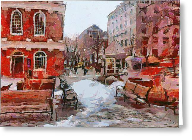 Live Art Greeting Cards - Boston Downtown 4 Greeting Card by Yury Malkov