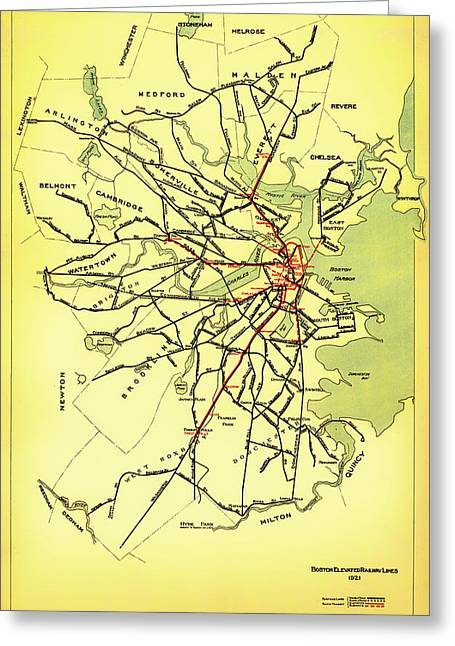 Road Travel Drawings Greeting Cards - Boston Elevated Railway System Map 1921 Greeting Card by Mountain Dreams