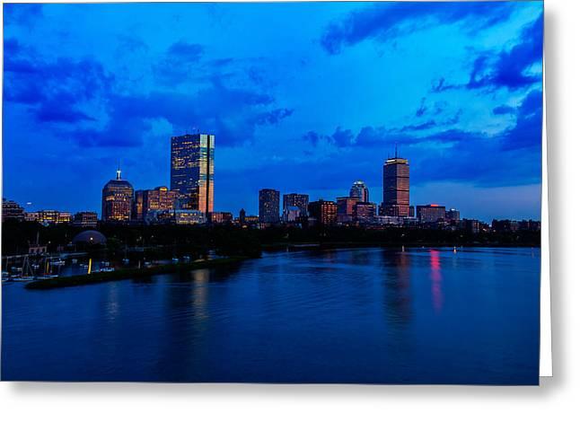Boston Light Greeting Cards - Boston Evening Greeting Card by Rick Berk
