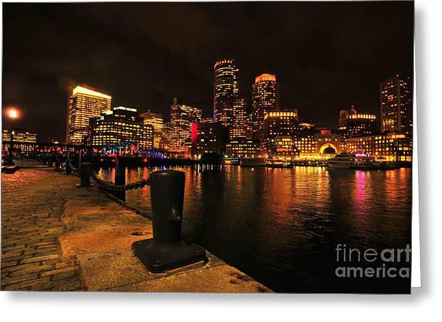 Winter Night Greeting Cards - Boston Fan Pier City Skyline  Greeting Card by Catherine Reusch  Daley