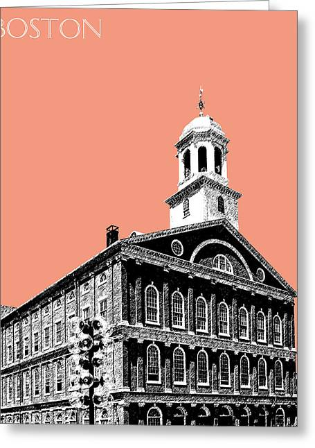 Salmon Digital Greeting Cards - Boston Faneuil Hall - Salmon Greeting Card by DB Artist