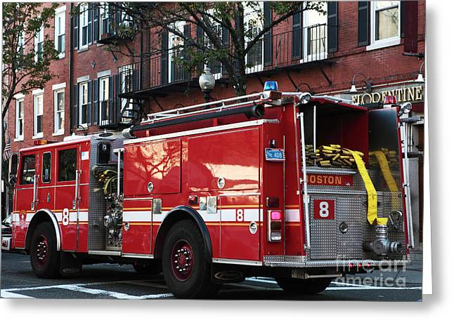 Americana Pictures Greeting Cards - Boston FD Greeting Card by John Rizzuto