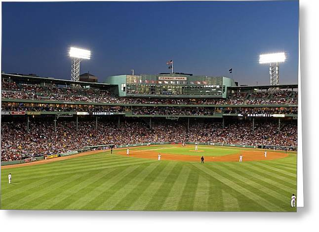 Press Box Greeting Cards - Boston Fenway Park and Red Sox Nation Greeting Card by Juergen Roth