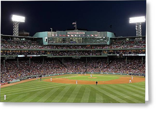Press Box Greeting Cards - Boston Fenway Park Baseball Greeting Card by Juergen Roth