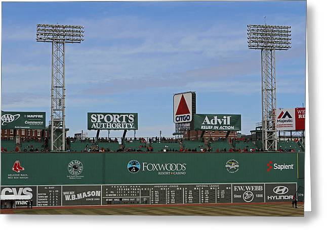 Press Box Greeting Cards - Boston Fenway Park Green Monster Greeting Card by Juergen Roth
