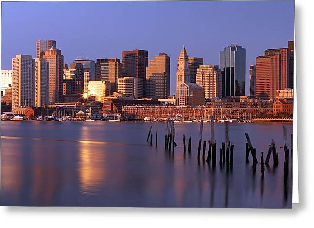 Custom House Tower Greeting Cards - Boston Financial District and Harbor Greeting Card by Juergen Roth