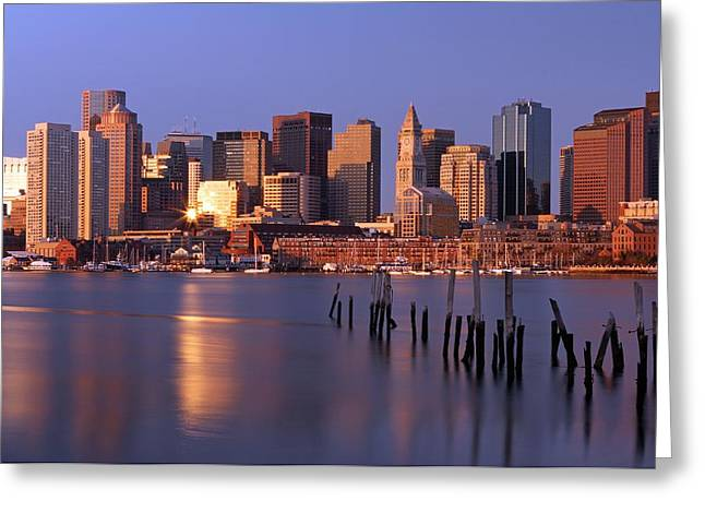 One Sailboat Greeting Cards - Boston Financial District and Harbor Greeting Card by Juergen Roth