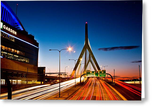 Bunker Hill Greeting Cards - Boston Garden and Bunker Hill Bridge  Greeting Card by John McGraw