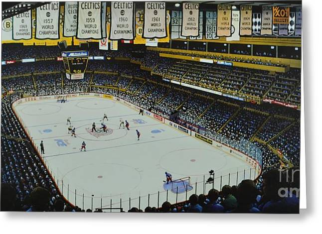 Sports Mural Pictures Greeting Cards - Boston Garden Ice Greeting Card by Thomas  Kolendra