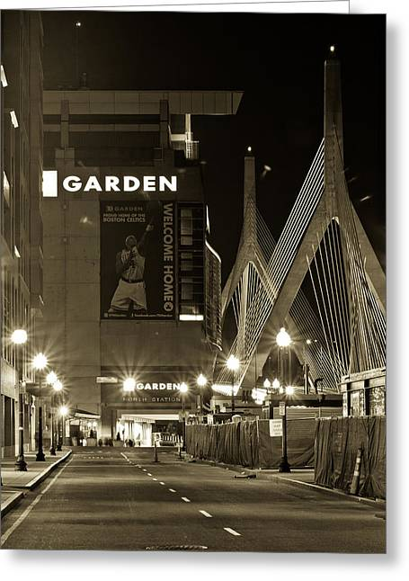 Boston Garden Greeting Cards - Boston Garder and Side Street Greeting Card by John McGraw