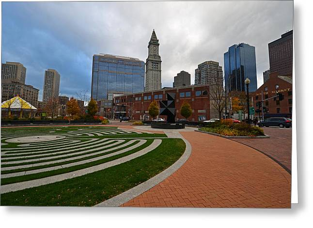 Boston Ma Greeting Cards - Boston Greenway Maze Looking at Faneuil Hall Greeting Card by Toby McGuire