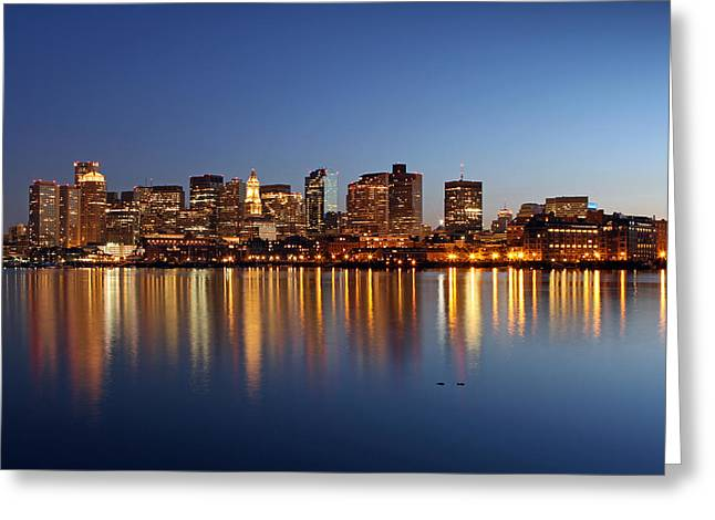 Fotografie Greeting Cards - Boston Harbor and Downtown Greeting Card by Juergen Roth