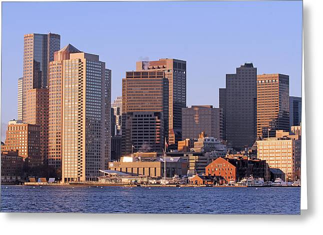 Custom House Tower Greeting Cards - Boston Harbor and New England Aquarium Greeting Card by Juergen Roth
