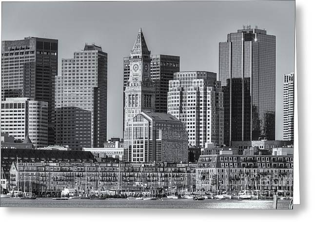 Custom House Tower Greeting Cards - Boston Harbor and Skyline II Greeting Card by Clarence Holmes