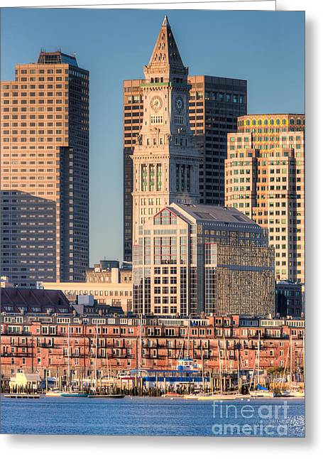 Custom House Tower Greeting Cards - Boston Harbor and Skyline III Greeting Card by Clarence Holmes