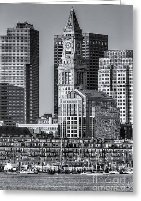 Custom House Tower Greeting Cards - Boston Harbor and Skyline IV Greeting Card by Clarence Holmes