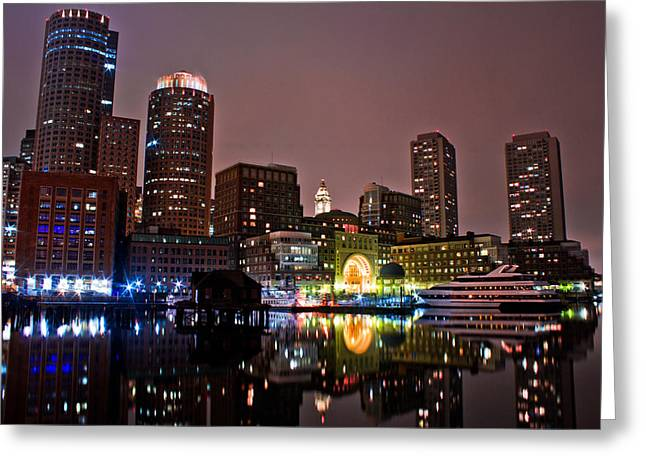 Tea Party Greeting Cards - Boston Harbor at Night  Greeting Card by John McGraw